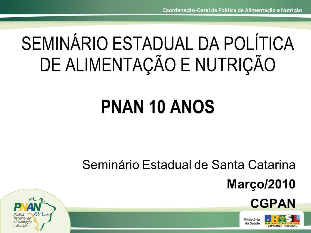SEMINÁRIO ESTADUAL DA POLÍTICA DE ALIMENTAÇÃO E NUTRIÇÃO PNAN 10 ANOS Seminário Estadual de Santa Catarina Março/2010 CGPAN