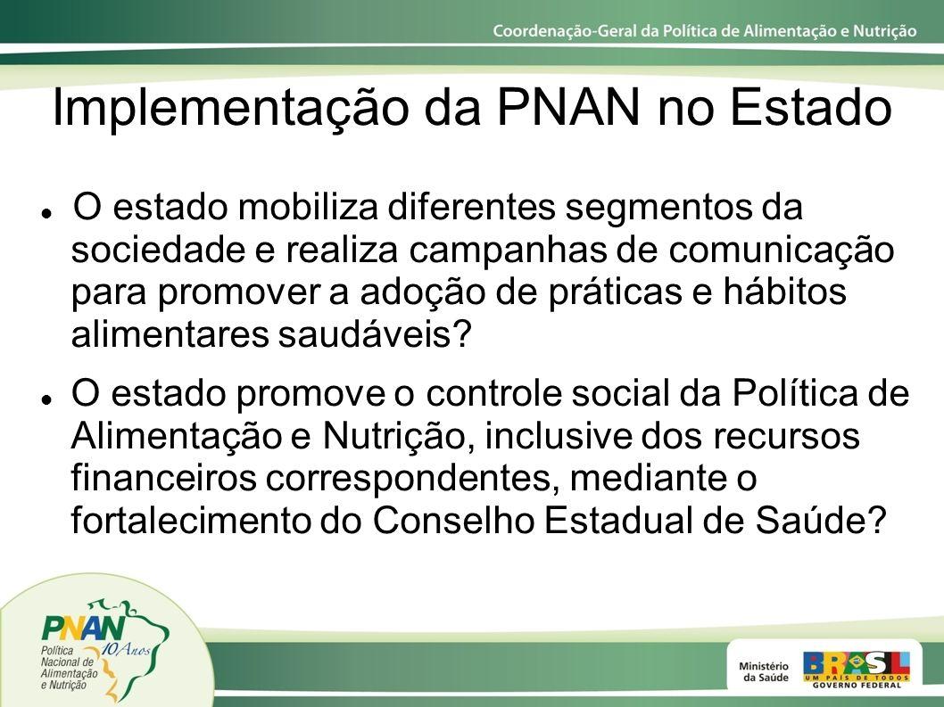 Implementação da PNAN no Estado O estado mobiliza diferentes segmentos da sociedade e realiza campanhas de comunicação para promover a adoção de práti