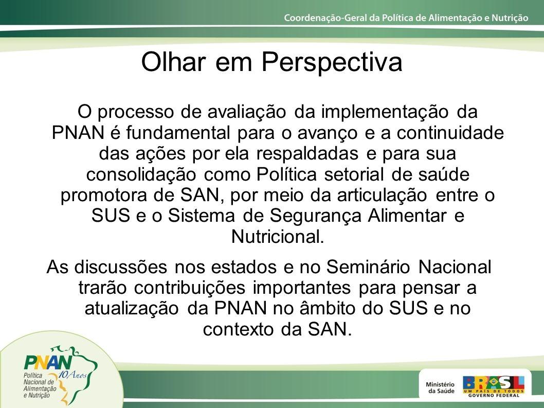 Olhar em Perspectiva O processo de avaliação da implementação da PNAN é fundamental para o avanço e a continuidade das ações por ela respaldadas e par