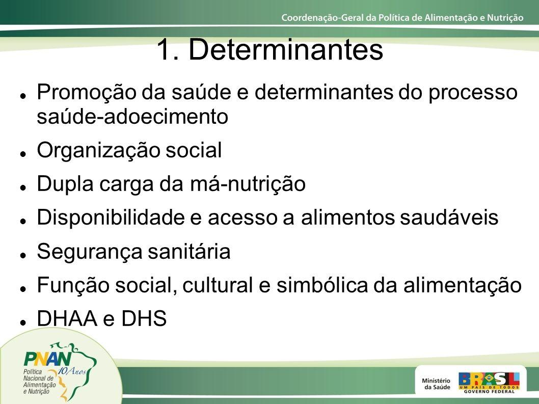 1. Determinantes Promoção da saúde e determinantes do processo saúde-adoecimento Organização social Dupla carga da má-nutrição Disponibilidade e acess