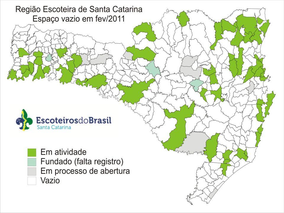Efetivo 2010 População DistritalAtualNovo Participação região Extremo Oeste643313.56420,50 12,27% Oeste424463.63911,189,158,09% Centro Oeste218393.209 3,94 5,544,16% Planalto Norte197217.7509,043,76% Norte234432.1275,235,424,47% Litoral Norte657638.02110,30 12,54% Vale685516.49513,26 13,07% Alto Vale268290.989 6,36 9,215,11% Planalto125342.8413,652,39% Litoral758773.4019,80 14,47% Litoral Sul749864.9148,66 14,29% Sul224378.3625,92 4,27% Extremo Sul47553.2910,85 0,90% UEB-SC11 0,21% TOTAL52406.178.6038,48 100,00% Escoteiros/10.000 hab.