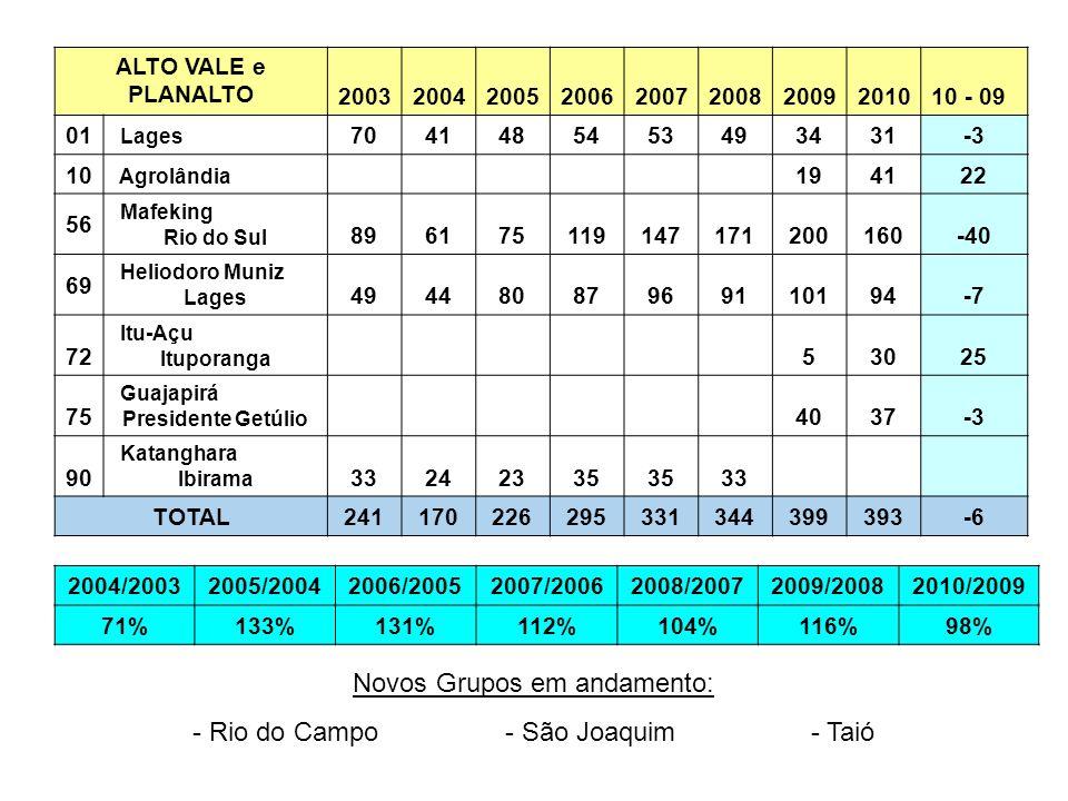 ALTO VALE e PLANALTO 2003200420052006200720082009201010 - 09 01 Lages 7041485453493431-3 10 Agrolândia 194122 56 Mafeking Rio do Sul 89617511914717120