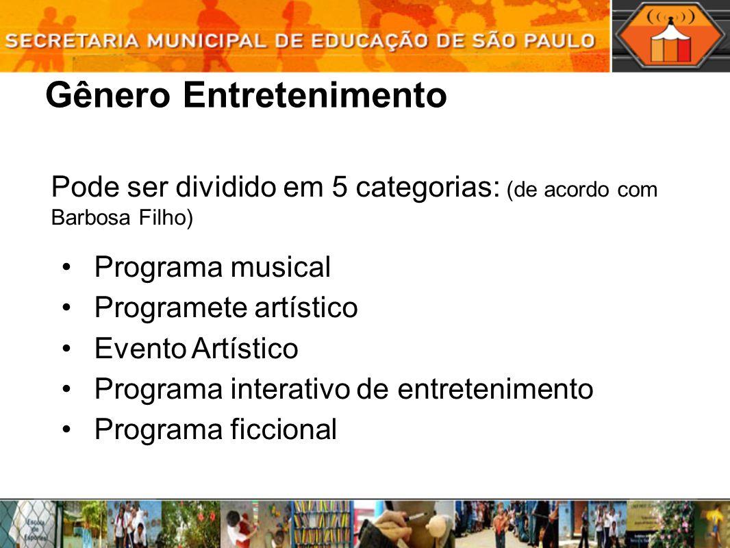 Gênero Entretenimento Pode ser dividido em 5 categorias: (de acordo com Barbosa Filho) Programa musical Programete artístico Evento Artístico Programa