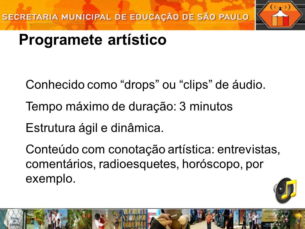 Programete artístico Conhecido como drops ou clips de áudio. Tempo máximo de duração: 3 minutos Estrutura ágil e dinâmica. Conteúdo com conotação artí