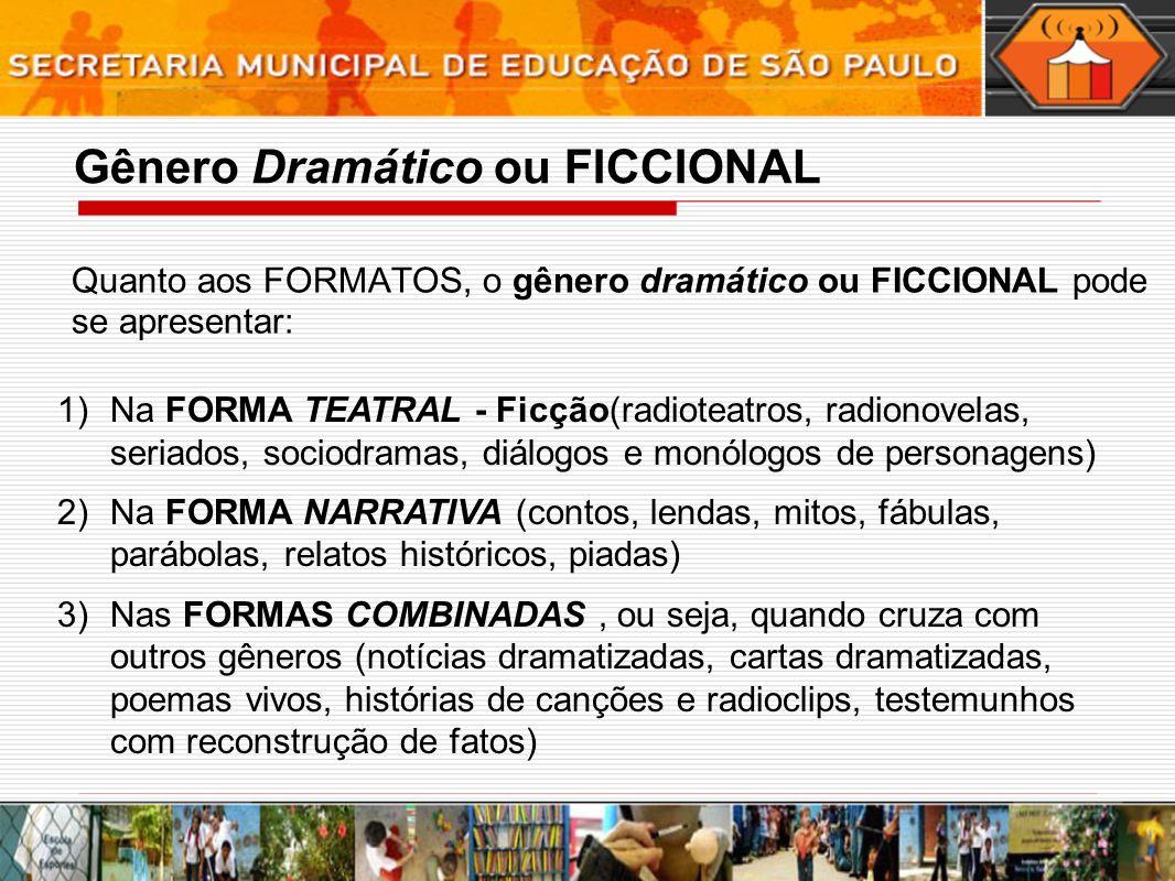 Quanto aos FORMATOS, o gênero dramático ou FICCIONAL pode se apresentar: 1)Na FORMA TEATRAL - Ficção(radioteatros, radionovelas, seriados, sociodramas