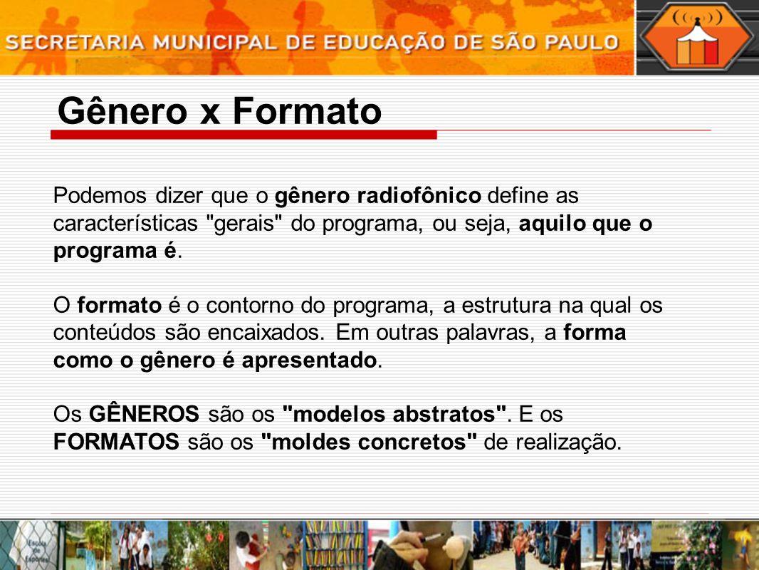 Gênero x Formato Podemos dizer que o gênero radiofônico define as características