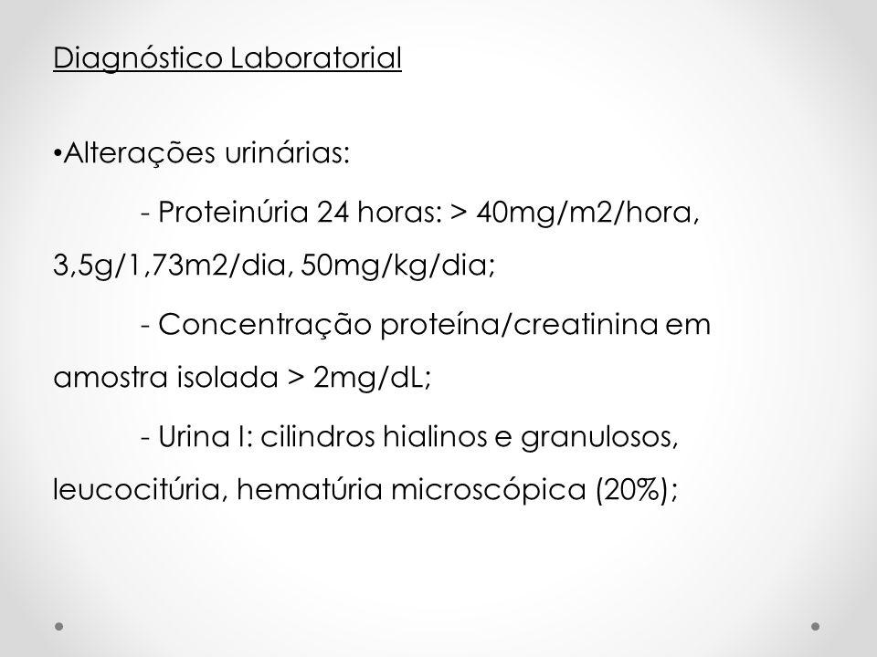 Diagnóstico Laboratorial Alterações urinárias: - Proteinúria 24 horas: > 40mg/m2/hora, 3,5g/1,73m2/dia, 50mg/kg/dia; - Concentração proteína/creatinin