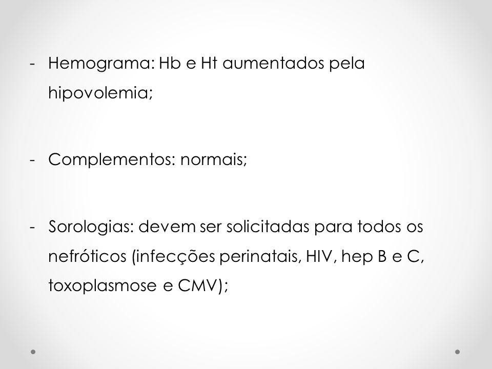 -Hemograma: Hb e Ht aumentados pela hipovolemia; -Complementos: normais; - Sorologias: devem ser solicitadas para todos os nefróticos (infecções perin