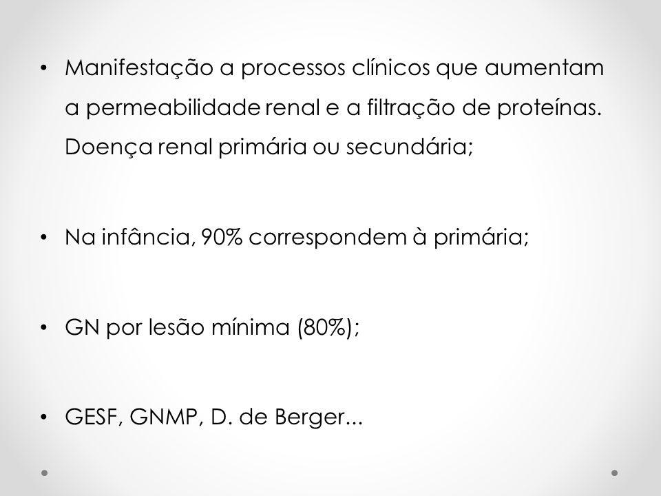 Manifestação a processos clínicos que aumentam a permeabilidade renal e a filtração de proteínas. Doença renal primária ou secundária; Na infância, 90