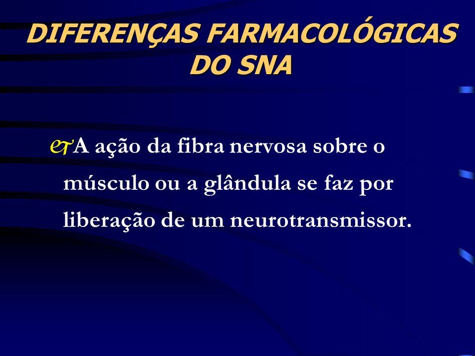 DIFERENÇAS FARMACOLÓGICAS DO SNA jA ação da fibra nervosa sobre o músculo ou a glândula se faz por liberação de um neurotransmissor.