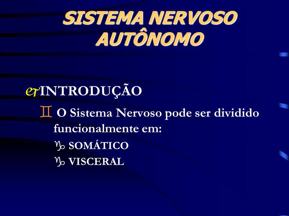 SISTEMA NERVOSO AUTÔNOMO jINTRODUÇÃO ` O Sistema Nervoso pode ser dividido funcionalmente em: g SOMÁTICO g VISCERAL