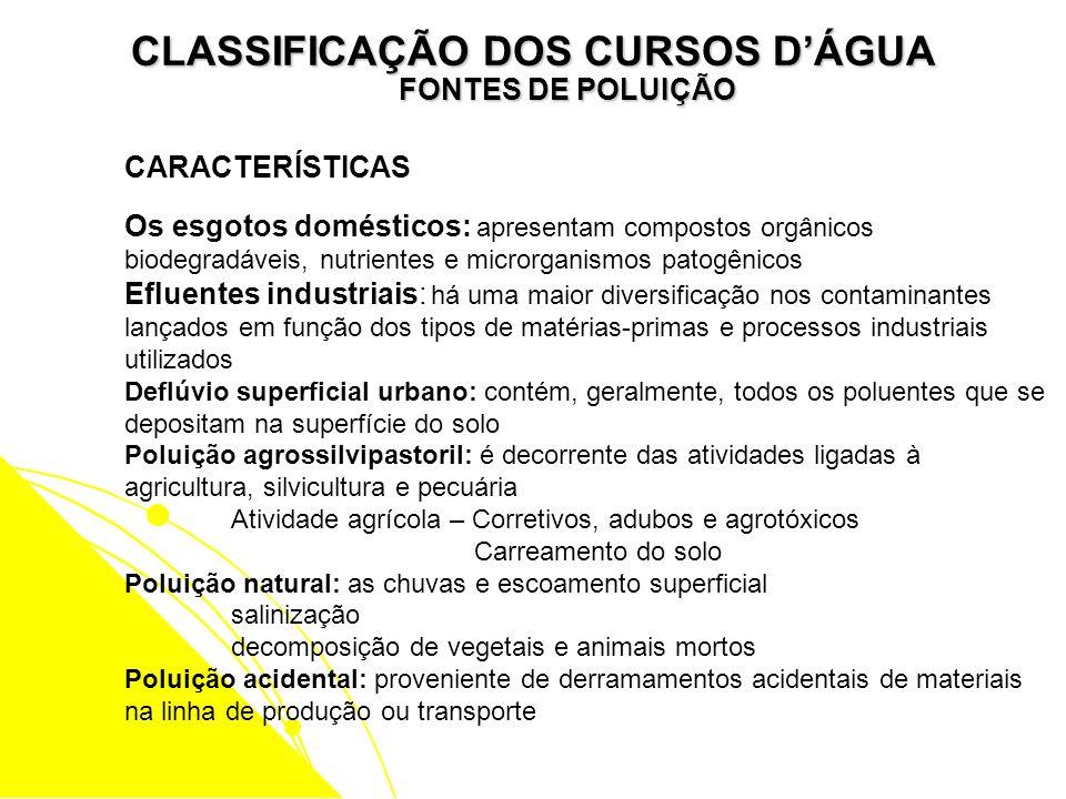 CLASSIFICAÇÃO DOS CURSOS DÁGUA FONTES DE POLUIÇÃO CARACTERÍSTICAS Os esgotos domésticos: apresentam compostos orgânicos biodegradáveis, nutrientes e m