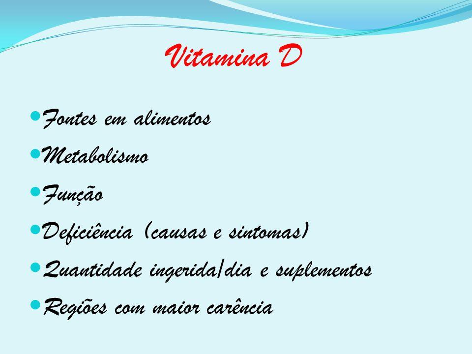 Vitamina D Fontes em alimentos Metabolismo Função Deficiência (causas e sintomas) Quantidade ingerida/dia e suplementos Regiões com maior carência
