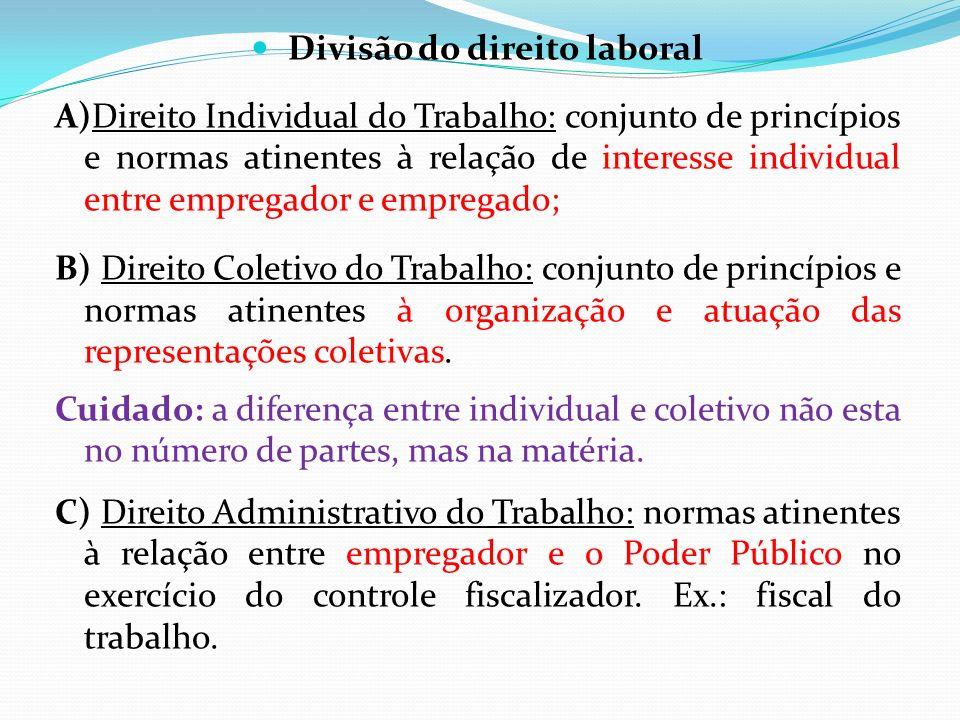 Divisão do direito laboral A)Direito Individual do Trabalho: conjunto de princípios e normas atinentes à relação de interesse individual entre emprega