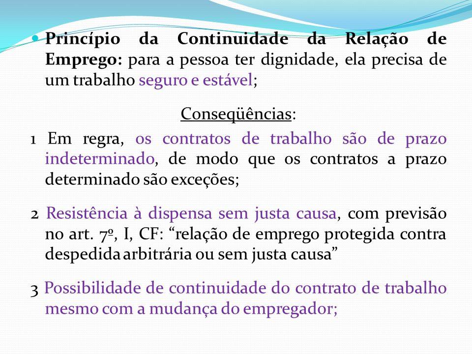 Princípio da Continuidade da Relação de Emprego: para a pessoa ter dignidade, ela precisa de um trabalho seguro e estável; Conseqüências: 1 Em regra,