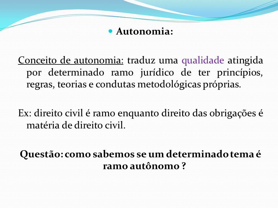 Autonomia: Conceito de autonomia: traduz uma qualidade atingida por determinado ramo jurídico de ter princípios, regras, teorias e condutas metodológi