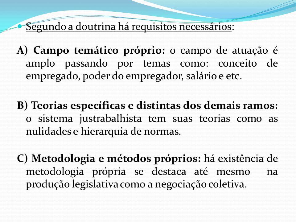 Segundo a doutrina há requisitos necessários: A) Campo temático próprio: o campo de atuação é amplo passando por temas como: conceito de empregado, po