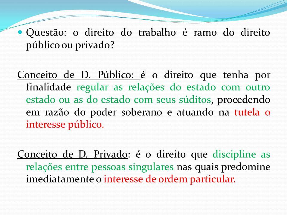 Questão: o direito do trabalho é ramo do direito público ou privado? Conceito de D. Público: é o direito que tenha por finalidade regular as relações