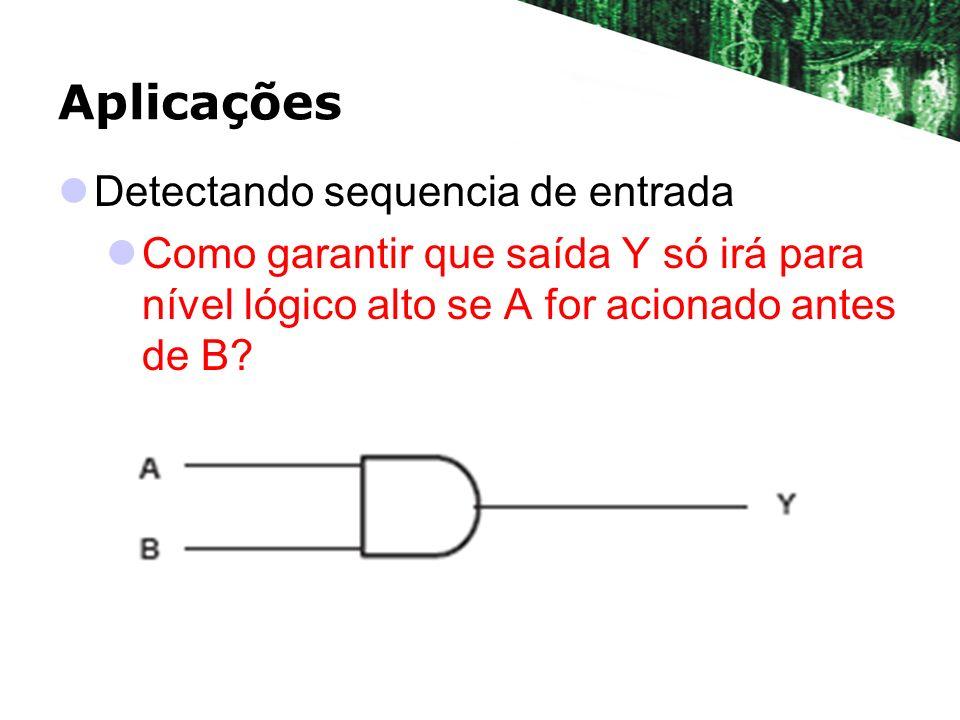 Aplicações Detectando sequencia de entrada Como garantir que saída Y só irá para nível lógico alto se A for acionado antes de B?