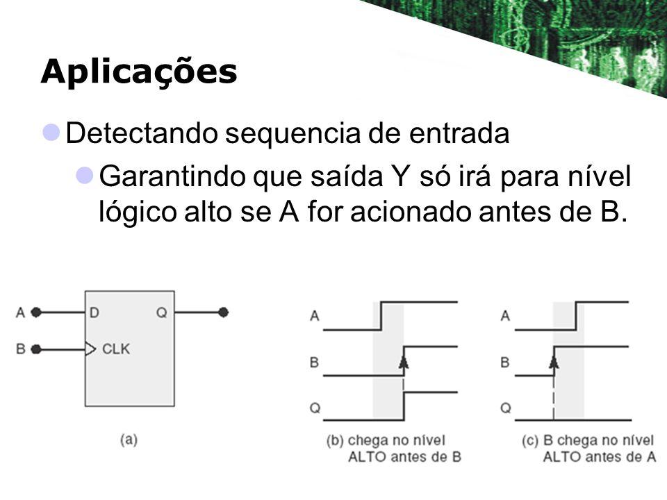 Aplicações Detectando sequencia de entrada Garantindo que saída Y só irá para nível lógico alto se A for acionado antes de B.