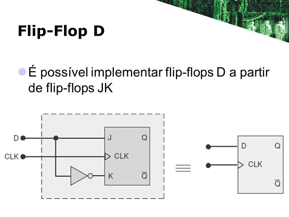 Flip-Flop D É possível implementar flip-flops D a partir de flip-flops JK