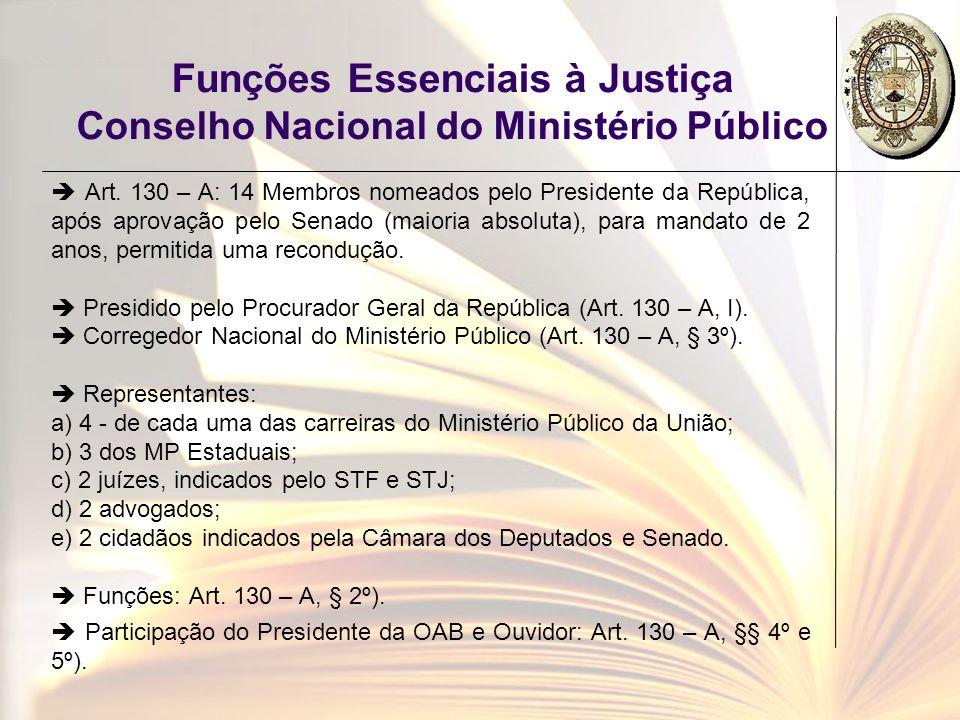 Funções Essenciais à Justiça Conselho Nacional do Ministério Público Art. 130 – A: 14 Membros nomeados pelo Presidente da República, após aprovação pe