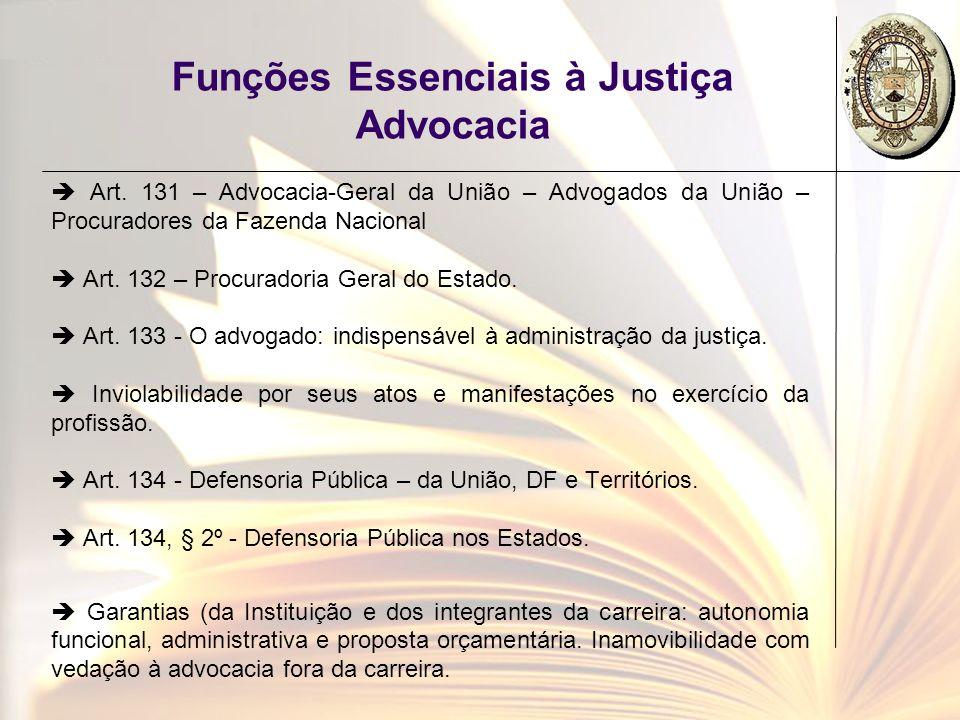 Funções Essenciais à Justiça Advocacia Art. 131 – Advocacia-Geral da União – Advogados da União – Procuradores da Fazenda Nacional Art. 132 – Procurad