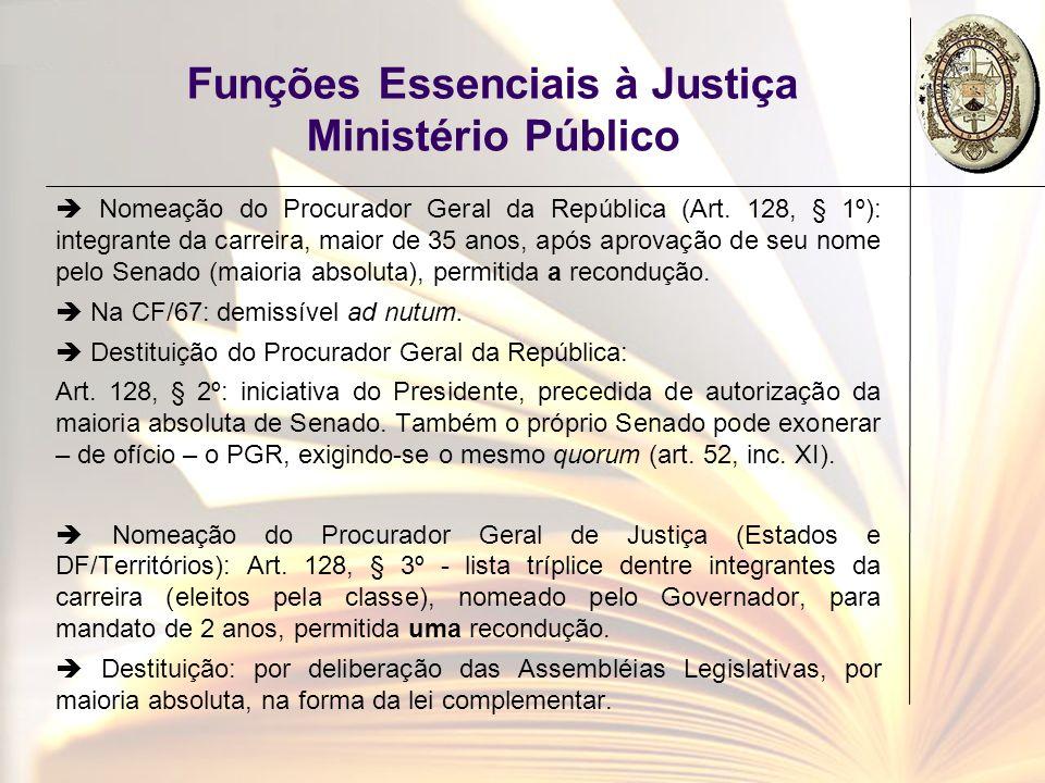 Funções Essenciais à Justiça Ministério Público Nomeação do Procurador Geral da República (Art. 128, § 1º): integrante da carreira, maior de 35 anos,