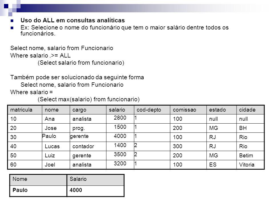 Uso do ALL em consultas analíticas Ex: Selecione o nome do funcionário que tem o maior salário dentre todos os funcionários. Select nome, salario from