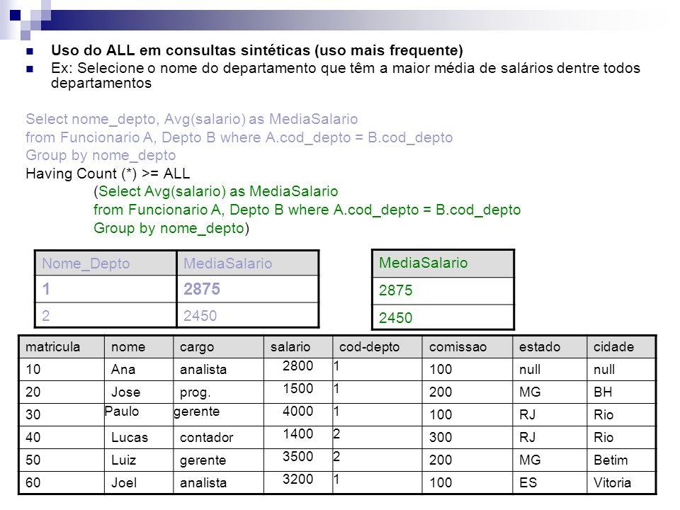 Uso do ALL em consultas sintéticas (uso mais frequente) Ex: Selecione o nome do departamento que têm a maior média de salários dentre todos departamen