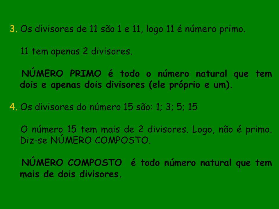 3. Os divisores de 11 são 1 e 11, logo 11 é número primo. 11 tem apenas 2 divisores. NÚMERO PRIMO é todo o número natural que tem dois e apenas dois d