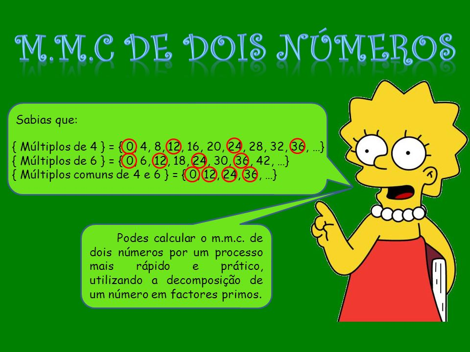 { Múltiplos de 4 } = { 0, 4, 8, 12, 16, 20, 24, 28, 32, 36, …} { Múltiplos de 6 } = { 0, 6, 12, 18, 24, 30, 36, 42, …} { Múltiplos comuns de 4 e 6 } =