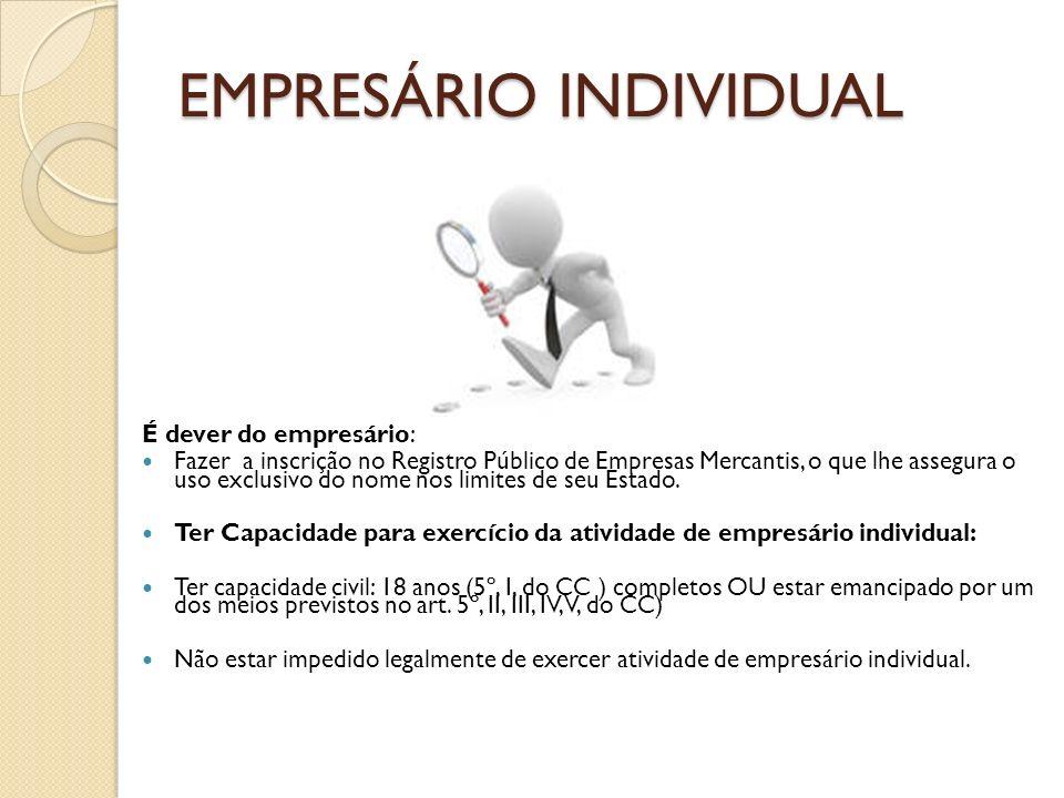 EMPRESÁRIO INDIVIDUAL EMPRESÁRIO INDIVIDUAL É dever do empresário: Fazer a inscrição no Registro Público de Empresas Mercantis, o que lhe assegura o u