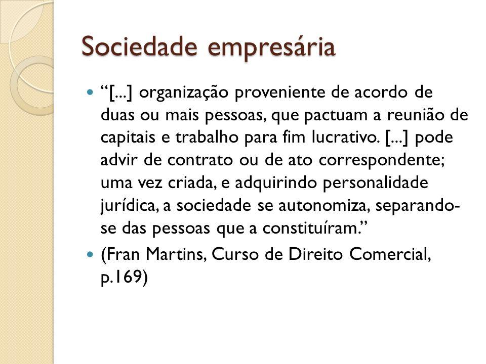 Sociedade empresária [...] organização proveniente de acordo de duas ou mais pessoas, que pactuam a reunião de capitais e trabalho para fim lucrativo.