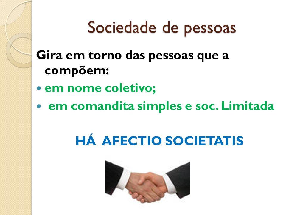 Sociedade de pessoas Gira em torno das pessoas que a compõem: em nome coletivo; em comandita simples e soc. Limitada HÁ AFECTIO SOCIETATIS
