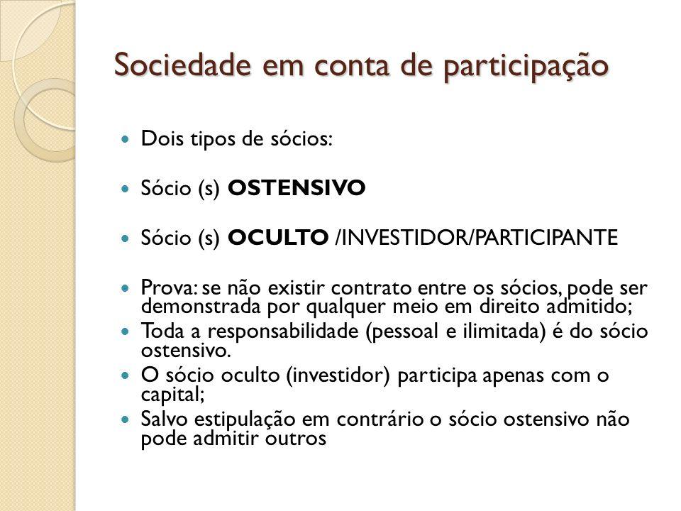 Sociedade em conta de participação Dois tipos de sócios: Sócio (s) OSTENSIVO Sócio (s) OCULTO /INVESTIDOR/PARTICIPANTE Prova: se não existir contrato