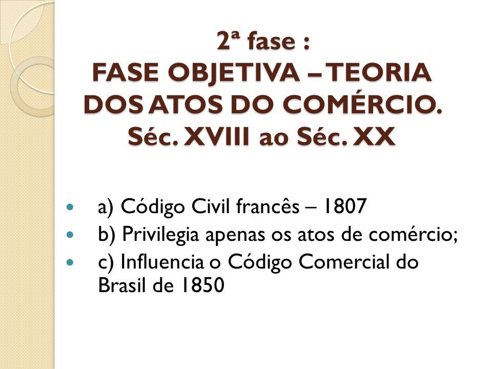 2ª fase : FASE OBJETIVA – TEORIA DOS ATOS DO COMÉRCIO. Séc. XVIII ao Séc. XX a) Código Civil francês – 1807 b) Privilegia apenas os atos de comércio;