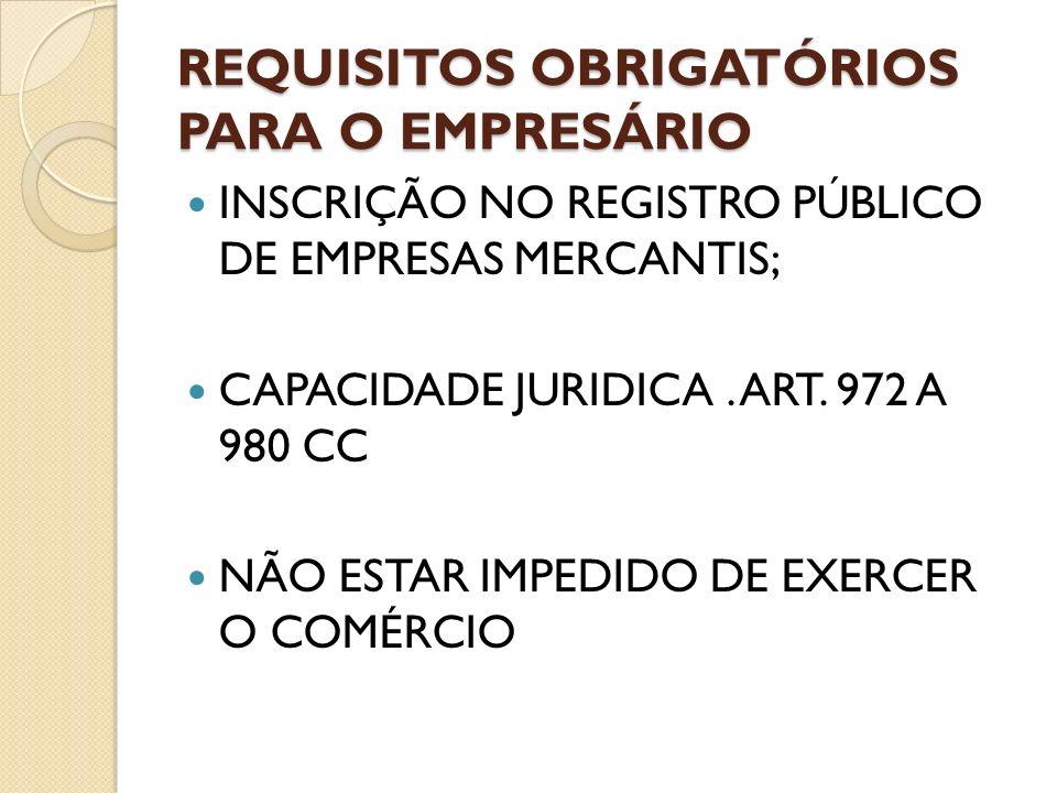 REQUISITOS OBRIGATÓRIOS PARA O EMPRESÁRIO INSCRIÇÃO NO REGISTRO PÚBLICO DE EMPRESAS MERCANTIS; CAPACIDADE JURIDICA. ART. 972 A 980 CC NÃO ESTAR IMPEDI