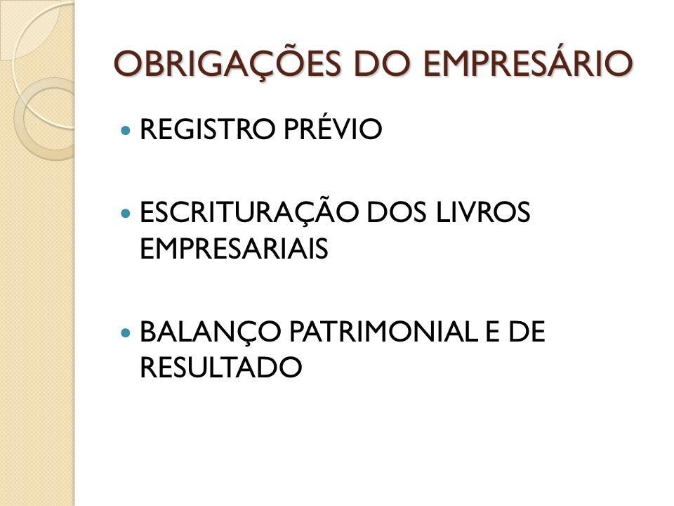 OBRIGAÇÕES DO EMPRESÁRIO REGISTRO PRÉVIO ESCRITURAÇÃO DOS LIVROS EMPRESARIAIS BALANÇO PATRIMONIAL E DE RESULTADO