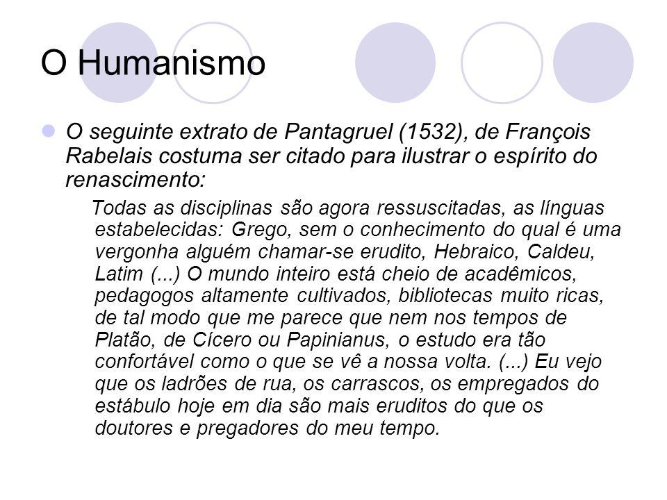 O Humanismo O seguinte extrato de Pantagruel (1532), de François Rabelais costuma ser citado para ilustrar o espírito do renascimento: Todas as discip