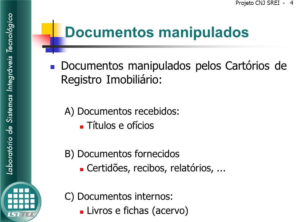 Documentos manipulados A) Documentos recebidos: São examinados, qualificados, registrados e arquivados: Títulos Instrumento Particular (arquivo obrigatório) Instrumento Público Ofícios Comunicados Solicitações de Alteração de Registros Projeto CNJ SREI - 5