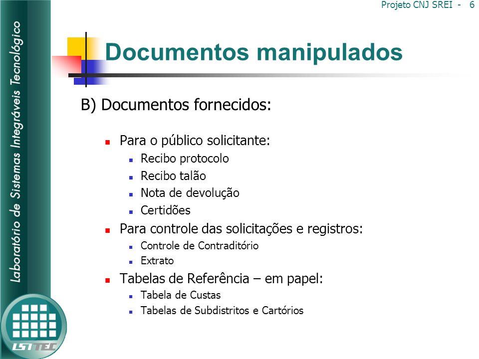 Documentos manipulados C) Documentos internos: Acervo do Oficial de Registro de Imóveis Podem ser encadernados ou fichas soltas Tipos: Registros Índices (indicadores) Controles Fichas auxiliares Relatórios Projeto CNJ SREI - 7