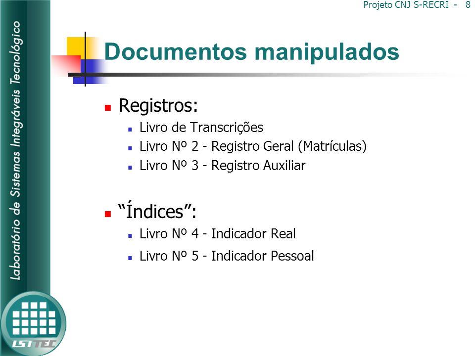 Projeto CNJ SREI - 9 Documentos manipulados Controles: Livro Nº 1 – Protocolo Livro de Recepção de Títulos Livro de Registro de Aquisição de Imóveis Rurais por Estrangeiros Livro de Registro das Indisponibilidades (somente SP) Livro de Registro Diário da Receita e da Despesa Livro de Depósitos Prévios Livro de Visitas e Correições
