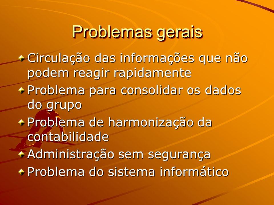 Problemas gerais Circulação das informações que não podem reagir rapidamente Problema para consolidar os dados do grupo Problema de harmonização da co
