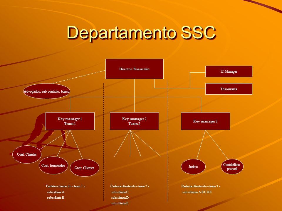 Departamento SSC Director financeiro Key manager 1 Team 1 Key manager 2 Team 2 Key manager 3 Cont. Clientes Cont. fornecedor Cont. Clientes Carteira c
