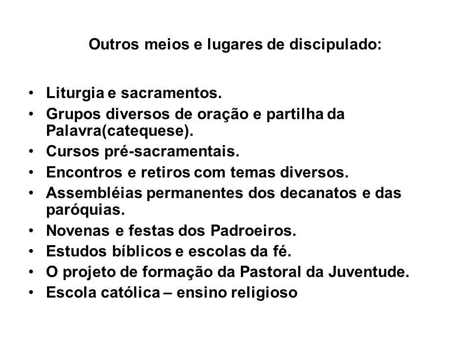 Outros meios e lugares de discipulado: Liturgia e sacramentos. Grupos diversos de oração e partilha da Palavra(catequese). Cursos pré-sacramentais. En