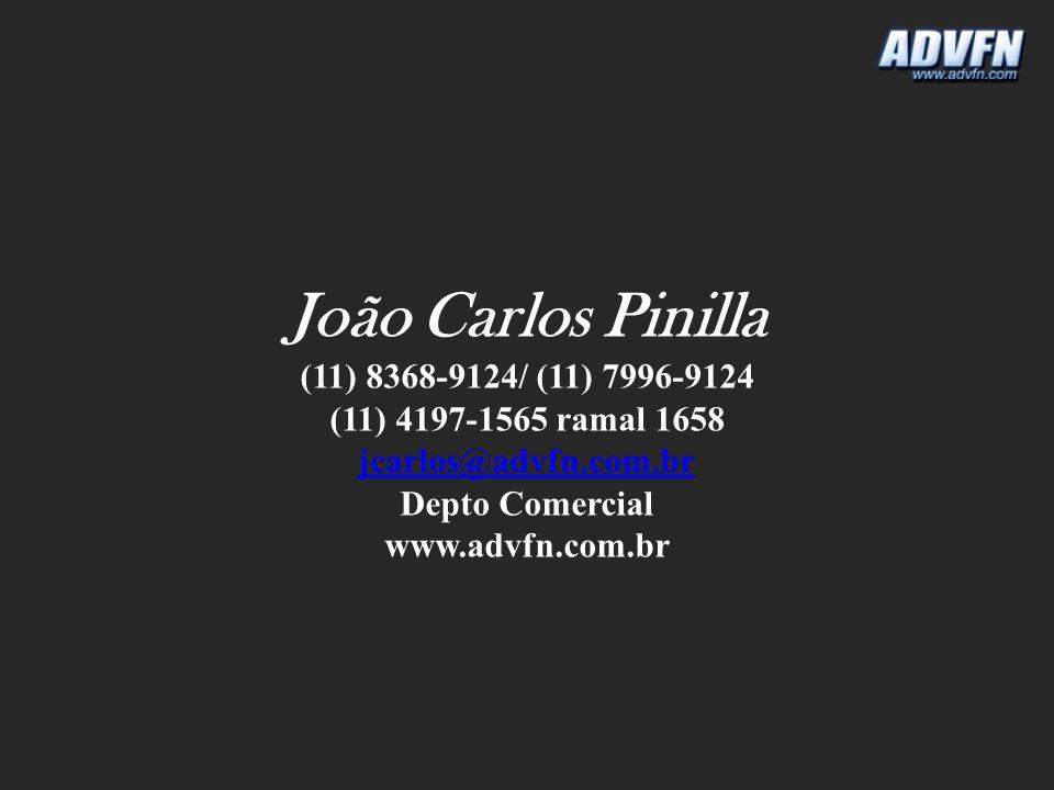João Carlos Pinilla (11) 8368-9124/ (11) 7996-9124 (11) 4197-1565 ramal 1658 jcarlos@advfn.com.br Depto Comercial www.advfn.com.br
