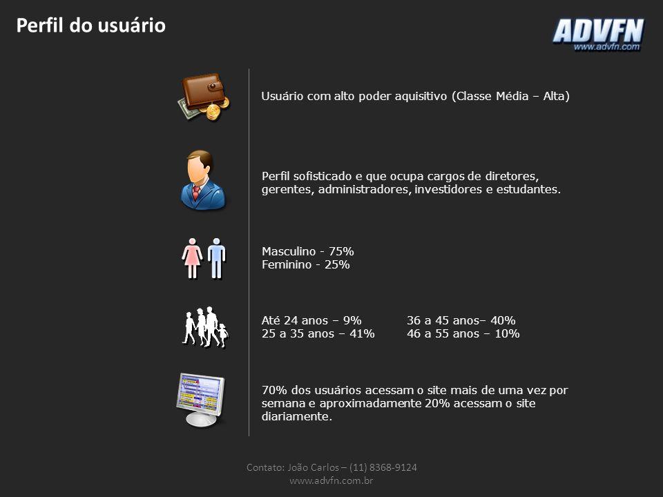 Perfil do usuário Contato: João Carlos – (11) 8368-9124 www.advfn.com.br Usuário com alto poder aquisitivo (Classe Média – Alta) Perfil sofisticado e