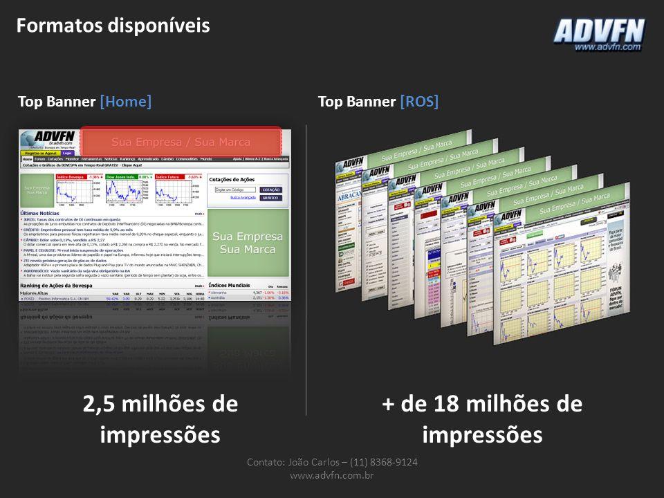Formatos disponíveis Contato: João Carlos – (11) 8368-9124 www.advfn.com.br Top Banner [Home]Top Banner [ROS] 2,5 milhões de impressões + de 18 milhões de impressões