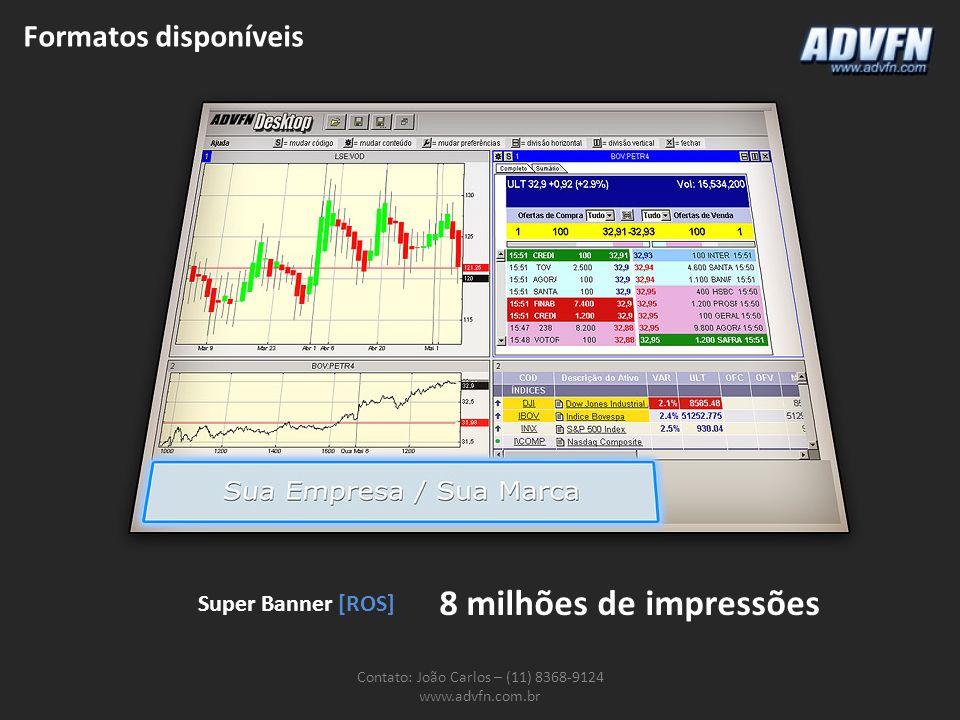 Formatos disponíveis Contato: João Carlos – (11) 8368-9124 www.advfn.com.br Super Banner [ROS] 8 milhões de impressões